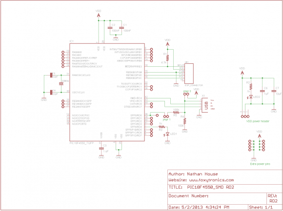 PIC18F4550 SMD RD2 Schematic