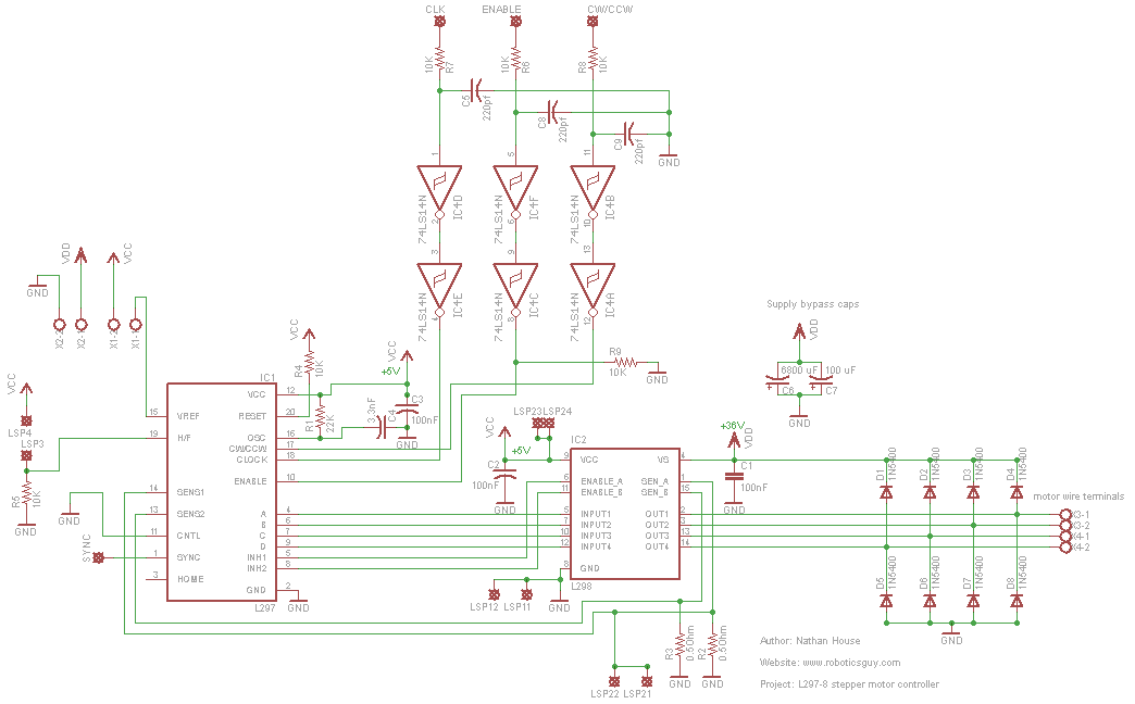 L297 L298 Stepper Motor Controller Schematic Pcb Version