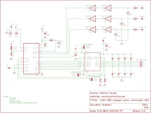 L297 L298 Stepper Motor Controller Schematic (PCB version, RC2)